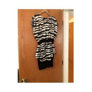 Zebra Print Mini Dress with Black Skirt Large